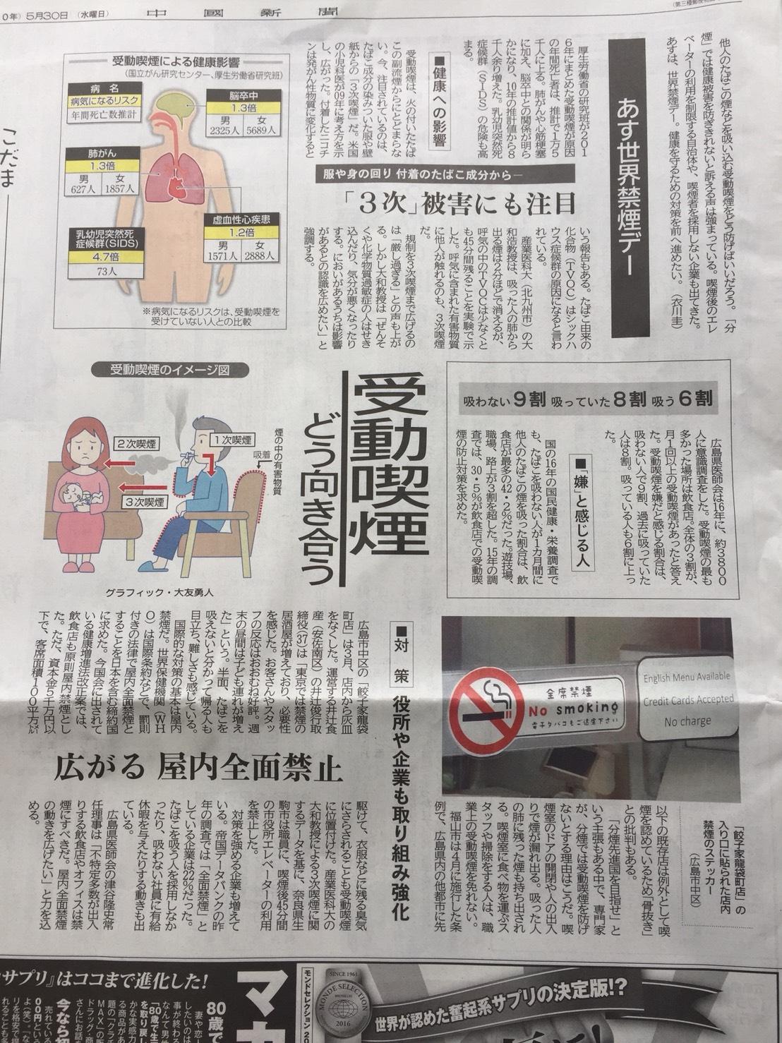 5月30日中国新聞朝刊に餃子家龍袋町店の禁煙について記事にして頂きました(^_-)