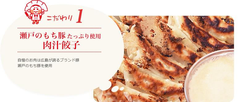 瀬戸のもち豚たっぷり使用 肉汁餃子